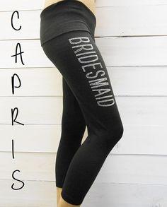 Custom Bridesmaid Yoga Pants. GLAM Rhinestones. Maid of Honor, Bachelorette Party Yoga Pants. Capris. Bridal Party Yoga Pants. on Etsy, $17.99