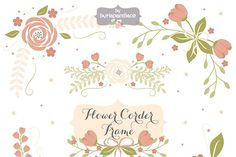 Flower corner, frame clipart by burlapandlace on @creativemarket