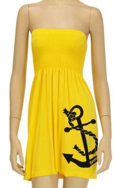 Yellow anchor longer length anchor dress
