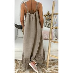 Sleeveless Solid Backless Casual Loose Long Dress - It is made of high-quality materials, durable for your daily wearing! The Dress, Dress Skirt, Fashion Looks, Women's Fashion, Summer Work Outfits, Vintage Style Dresses, Vacation Dresses, Types Of Sleeves, Fashion Dresses
