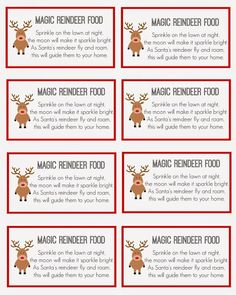 7 Best Images of Reindeer Food Printable Labels - Printable Magic Reindeer Food Labels, Reindeer Food Poem Printable and Magic Reindeer Food Printable Christmas Activities, Christmas Crafts For Kids, Christmas Projects, Holiday Crafts, Christmas Holidays, Kid Crafts, Christmas Eve Box Ideas Kids, Christmas Parties, Christmas Printables