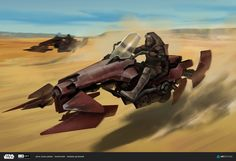A 'swoop', a suped-up mix-matched Speeder Bike designed for durability and long rides., especially in rough terrain like deserts or extreme cold environments.