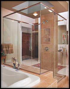 4-sided Frameless Shower Project created by Glass Doctor DFW