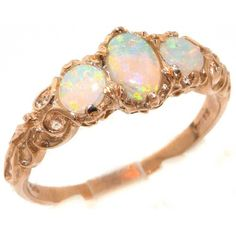 Womens Solid 14K Rose Gold Natural Fiery Opal English Victorian Style... ($619) ❤ liked on Polyvore featuring jewelry, rings, accessories, 14k ring, opal ring, rose gold opal ring, eternity ring and 14k engagement ring