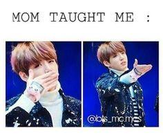 Haha mama Jin taught baby Jungkook how hand KISS like a princess! ❤
