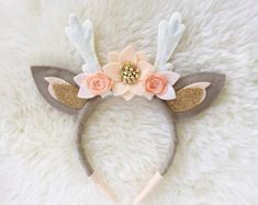 Deer Antler Crown Headband // boho felt flower by BakerBlossoms