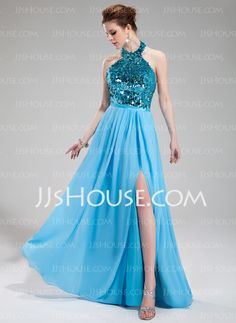 A-Line/Princess Halter Floor-Length Chiffon Sequined Evening Dress With Split Front Evening Dress 2015, Evening Dresses, Prom Dresses, Formal Dresses, Wedding Party Dresses, Dream Dress, Special Occasion Dresses, Fashion Dresses, Chiffon