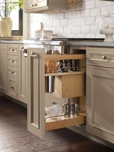 Use our Base Utensil Pantry Pull Out Cabinet with Knife Block to cull a collection of utensils and odd sized knives. Kitchen Pantry Cabinets, Kitchen Cabinet Organization, Kitchen Cabinet Design, Painting Kitchen Cabinets, Kitchen Storage, Kitchen Utensils, Organization Ideas, Utensil Storage, Farmhouse Cabinets