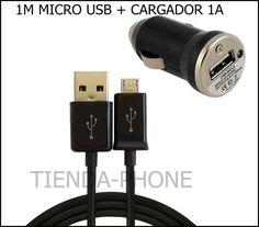 .MINI CARGADOR MECHERO COCHE NEGRO+CABLE MICRO USB SAMSUNG GALAXY S4 I9500-S5830