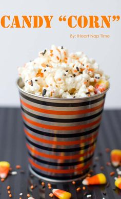 Easy candy corn popcorn snack - cute for a Halloween party! Halloween Goodies, Halloween Treats, Halloween Party, Halloween Desserts, Halloween Popcorn, Halloween Cupcakes, Fall Desserts, Easy Halloween, Halloween Stuff