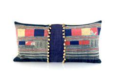 lumbar hmong cushion  vintage hmong batik cushion by fairlyworn