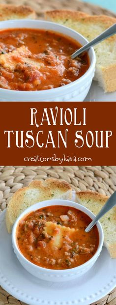 Tuscan Soup with cheese filled ravioli. Amazingly delicious on a chilly evening! A hearty soup recipe the whole family will love. via creationsbykara.com