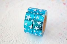 Foil Washi Tape - Blue Washi Tape - Gift Wrapping - Paper Decor - Scrapbooking - 1 Roll - 10 mt - Ready to Ship