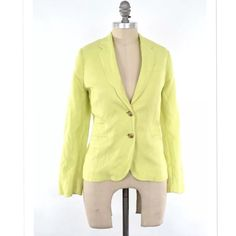 """J.Crew neon yellow linen SCHOOLBOY blazer Classic schoolboy blazer with a twist in neon yellow from J.Crew. Linen blend, fully lined. 3 welt pockets at the hips. Two button closure at the waist with tortoiseshell buttons. Notched lapel. Size 10 petite.  Length from shoulder: 23.5"""" Sleeve length from shoulder: 23"""" Bust: 40"""" J. Crew Jackets & Coats Blazers"""