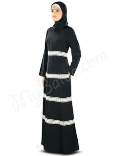 Simple Black Abaya with crochet lace | MyBatua.com : Fara Abaya!  Style No: Ay-327  Shopping Link: http://www.mybatua.com/fara-abaya  Available Sizes XS to 7XL (size chart: http://www.mybatua.com/size-chart/#ABAYA/JILBAB)  Graceful MyBatua Abaya designed with crochet lace, simply smart yet elegant dress in black, perfect attire for casual daily wear use