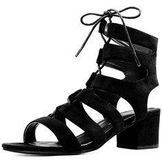 d8f9b9fe7abf Allegra K Women Open Toe Cutout Chunky Heel Lace-Up Sandals Black (Size US