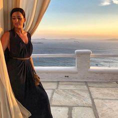 "La Maison Blanche on Instagram: ""Greek goddess over breathtaking sunset ☀️❤️"" Mykonos, Vacation Villas, Greek, Cover Up, Sunset, Beach, Instagram, Dresses, Fashion"