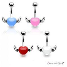 Bauchnabel Piercing  Herz mit Flügeln  316 L...