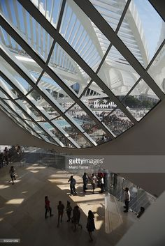 Museum of Tomorrow by Calatrava. People gather at the opening day of the Museum of Tomorrow, designed by Spanich architect Santiago Calatrava, in the port district on December 19, 2015 in Rio de Janeiro, Brazil. The museum is focused on the need for environmental sustainability and uses 40 percent less energy than conventional buildings, according to designers. The cooling system uses water from the adjacent and polluted Guanabara Bay.