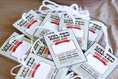 """""""Wanted"""" Name Tags from a Little Cowboy Birthday Party via Kara's Party Ideas 
