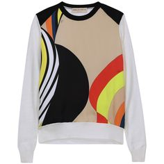 Emilio Pucci - Printed Silk-blend Satin And Wool Sweater (6.680 ARS) ❤ liked on Polyvore featuring tops, sweaters, ivory, satin top, silk blend sweaters, emilio pucci, ivory sweater and multicolor sweater