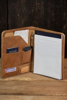 Riverton Leather Padfolio - Whiskey Tan - Front View