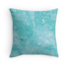 Aqua Turquoise Blue Watercolor Wash Throw by FromFloraWithLove