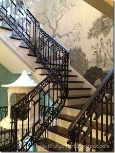 ASO Showcase House 2013 Handpainted Wallpaper entryway. Gorgeous!!