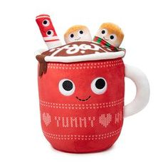 Meet the new Judy Hot Cocoa Plush from Yummy World! Judy Hot Cocoa Plushie is like everyone's favorite grandma. Her house always smells like freshly baked cookies and hot chocolate and she brings warmth wherever she goes! The secret to Judy's deli. Food Pillows, Cute Pillows, Candy Pillows, Kawaii Plush, Cute Plush, Kawaii Diy, Food Plushies, Yummy World, Peppermint Sticks
