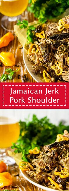 Need the perfect dinner recipe for a crowd for your next summer party? This Jamaican jerk pork shoulder is the ultimate summer dinner recipe! After cooking low and slow, this Caribbean pork shoulder comes out melt in your mouth tender and full of flavor. This summer pork recipe is a guaranteed hit! Best Pork Recipe, Pork Recipes, Jamaican Recipes, Sausage Recipes, Vegan Recipes, Pork Shoulder Oven, Dinner Party Recipes, Dinner Ideas, Marinated Pork