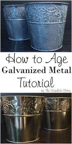 How to Age Galvanized Metal. Great Tutorial for Aging Metal easily with common household ingredients! Transform cheap metal pots and accessories into beautiful Farmhouse Style Home Décor Accents, with these easy DIY Tips and Techniques. By Thicketworks fo Diy Wood Wall, Aging Metal, Aging Wood, Diy Blanket Ladder, Graphics Fairy, Galvanized Metal, Galvanized Decor, Galvanized Buckets, Rusted Metal