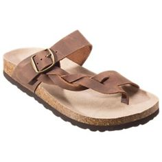 e1034d9d32a1 White Mountain Crawford Leather Toe Loop Sandals for Ladies - Brown - 10M  Toe Loop Sandals