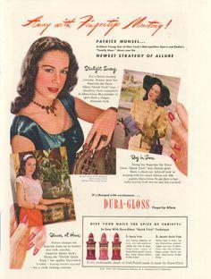 Patrice Munsel - Dura-Gloss nail polish ad (1946)