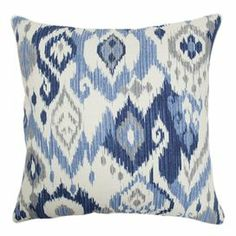 """Pairing exotic style with classic appeal, this bold down-filled pillow showcases an ikat motif in blue and white.     Product: Set of 2 pillows   Construction Material: Fabric cover and down fill   Color: Blue and white   Features:  Clean knife-edge finish  Hidden zipper closure  Inserts included   Dimensions: 18"""" x 18"""" each   Cleaning and Care: Spot clean only"""