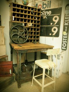 Vintage industrial work bench desk Great way to store your acrylic paints lay them on their side in each cubby hole