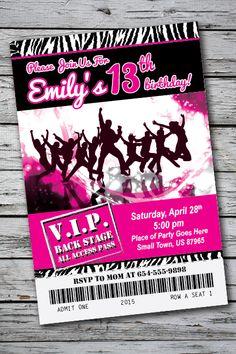 Dance/Disco Birthday Party Invitation - U Print Cards Disco Birthday Party, Birthday Party For Teens, Teen Birthday, Teen Fun, Printable Birthday Invitations, Zebra Print, Fields, Birthdays, Party Ideas