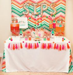 Spring Geometric Drink Station - Wedding or Party Bar Styling Ideas