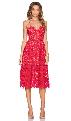 self-portrait Azalea Dress in Red & Nude