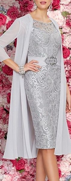 Mother Of The Bride Dresses Tea Length Two Pieces With Jacket GRAY - Cute Mother of the groom dress for the perfect wedding ceremony, be dress like a queen!