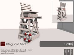 The Lifeguard set is available at the current round of the Garden.  This mesh seat comes prefilled with 10 single and 10 couple animations.  LI 2 / 2 Prims