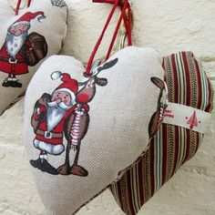 Three Nordic Hearts - Santa And Rudolph Reindeer Hanging Christmas Decorations, by The Old Button on #Folksy