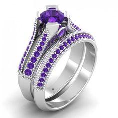 1.20CT Lune De Miel Swarovski Zirconia Diamond Two Ring Set in Solid Gold or Silver