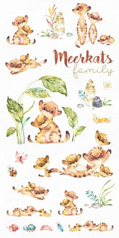 This cute Family of Meerkats watercolor set is just what you needed for the perfect invitations, craft projects, paper products, party decorations, printable, greetings cards, posters, stationery, scrapbooking, stickers, t-shirts, baby clothes, web designs and much more. ::::::