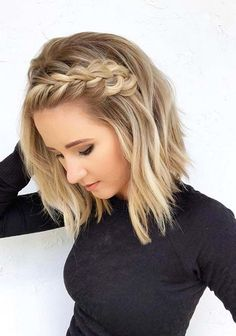 41 Pretty Braids for Short Blonde Haircuts in 2018 Braided Hairstyles Short Blonde Haircuts, Prom Hairstyles For Short Hair, Braided Hairstyles For Wedding, Braids For Short Hair, Blonde Braids, Side Braid Hairstyles, Braids For Medium Length Hair, Haircut Short, Simple Hairstyles For Medium Hair