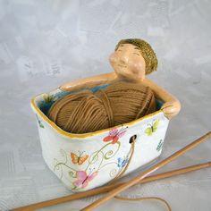 Yarn bowl / Whimsical bathing man yarn holder / eco by RecycoolArt, $35.00