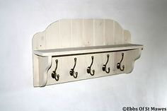Coat Hook Wall Coat Rack Wide Shelf Cream Shabby Chic Wood Wooden 5 Antique hook