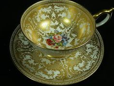 AYNSLEY ENCRUSTED GOLD LACE FANCY TEA CUP AND SAUCER HP FLORAL SIGNED BAILEY!