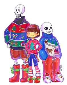 Embedded image permalink / Undertale christmas sans frisk and papyus