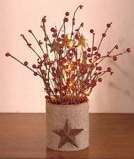 Lighted STARS & BERRIES Rustic HOME DECOR, NEW!