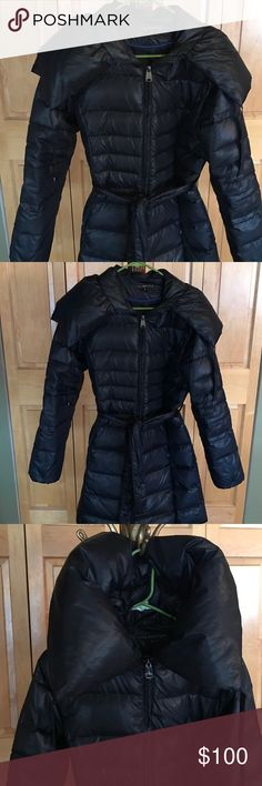 Navy Blue Big Shawl Mid Length Puffer Coat Very cute detailed longer mid length puffer coat. Has a large collar you can wear over your shoulders or tie up high for colder days. Has a belt to wrap around as tight or loose as you want with 2 side pockets. Very warm on cold winter days and long enough to keep out the wind. Via Spiga Jackets & Coats Puffers